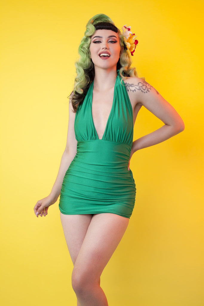 Green high shine skirted swimsuit