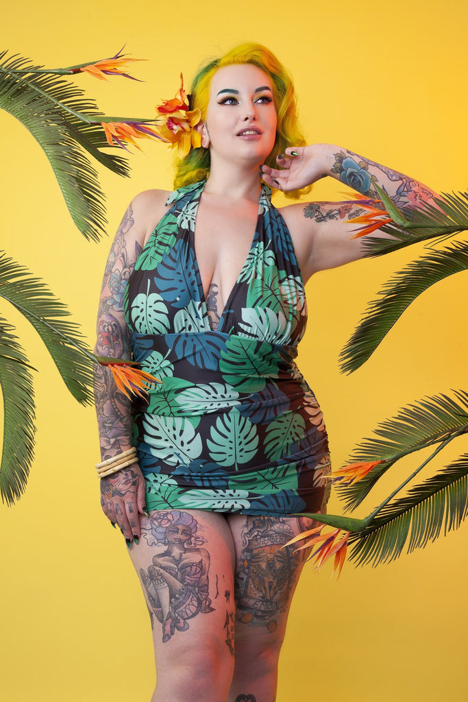 Collectif Green Palm Skirted swimsuit