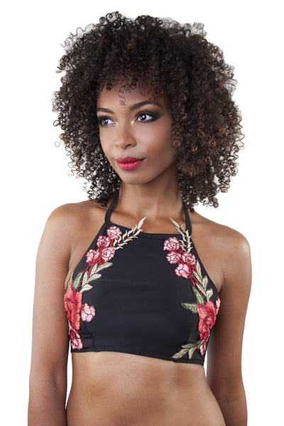 Embroidery High Neck Crop Bikini Top Black