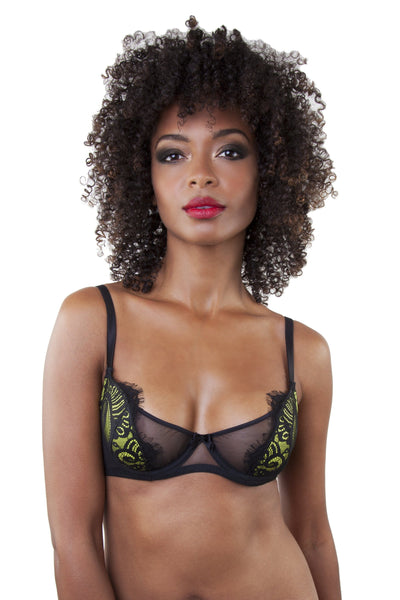 Sandrine Lemonade/Black Push Up Net Bra