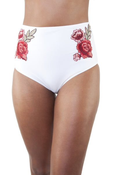 Embroidered High Waist Bikini Brief White