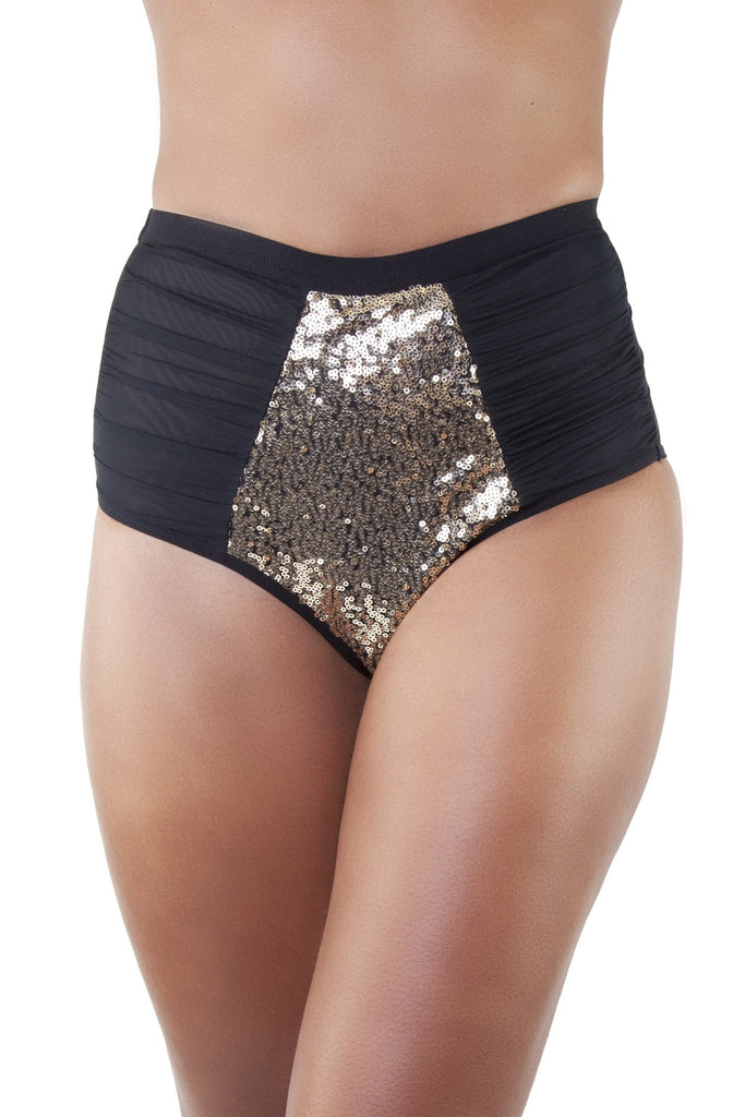 Peek & Beau - Tallulah Ruched Tulle Gold Sequin Brief