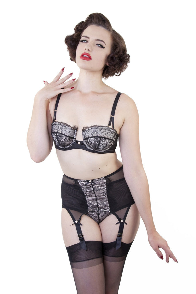 bettie page retro eyelash lace bra peach satin black overwire extended wire retro vintage