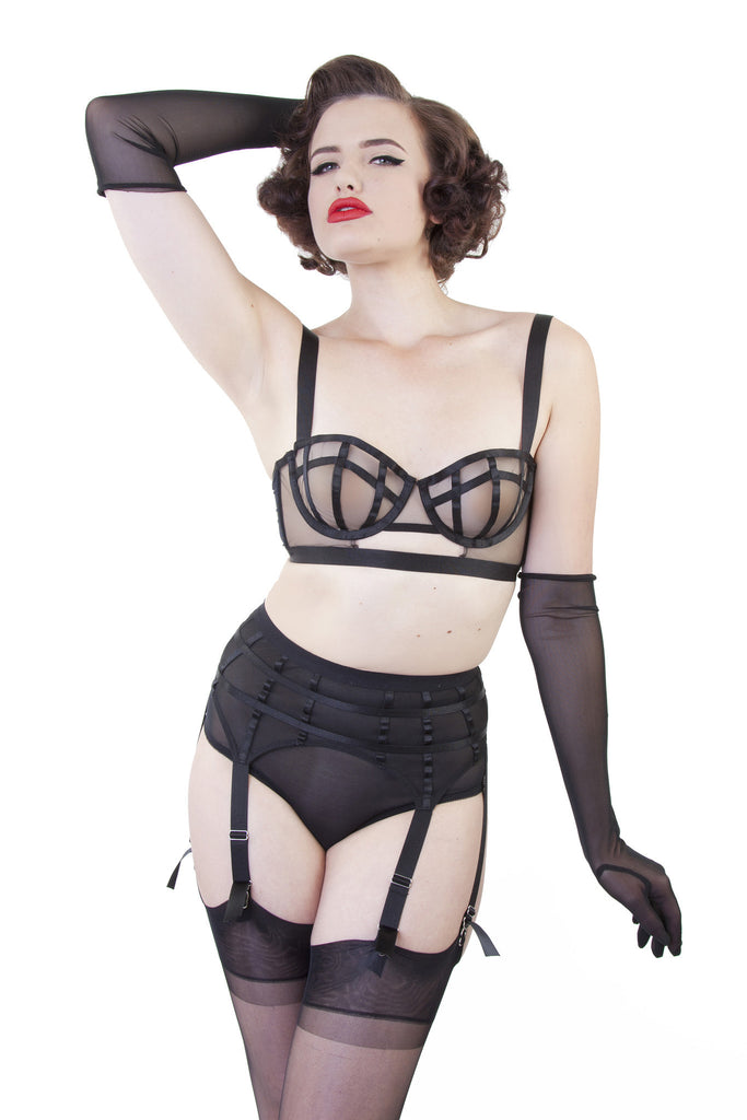 bettie page cage mesh suspender belt black retro vintage