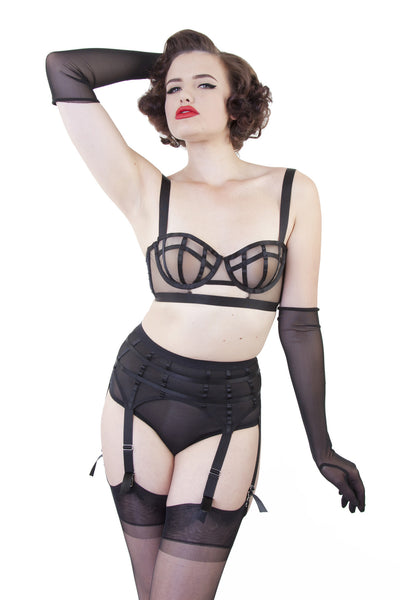 bettie page cage mesh sweetheart neckline bra cut out longline bralet