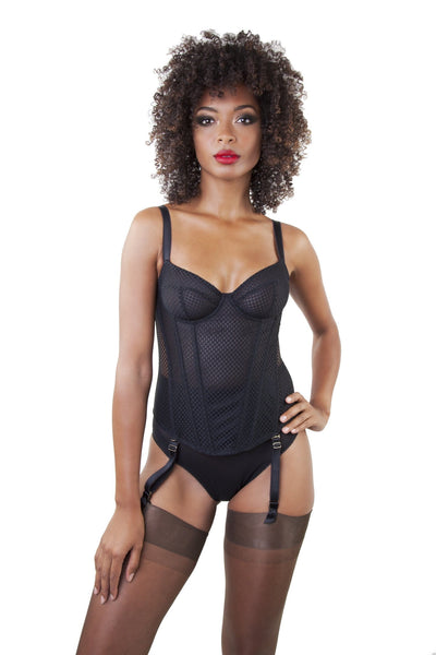 Carlota Black Tulle Basque A-D Cups