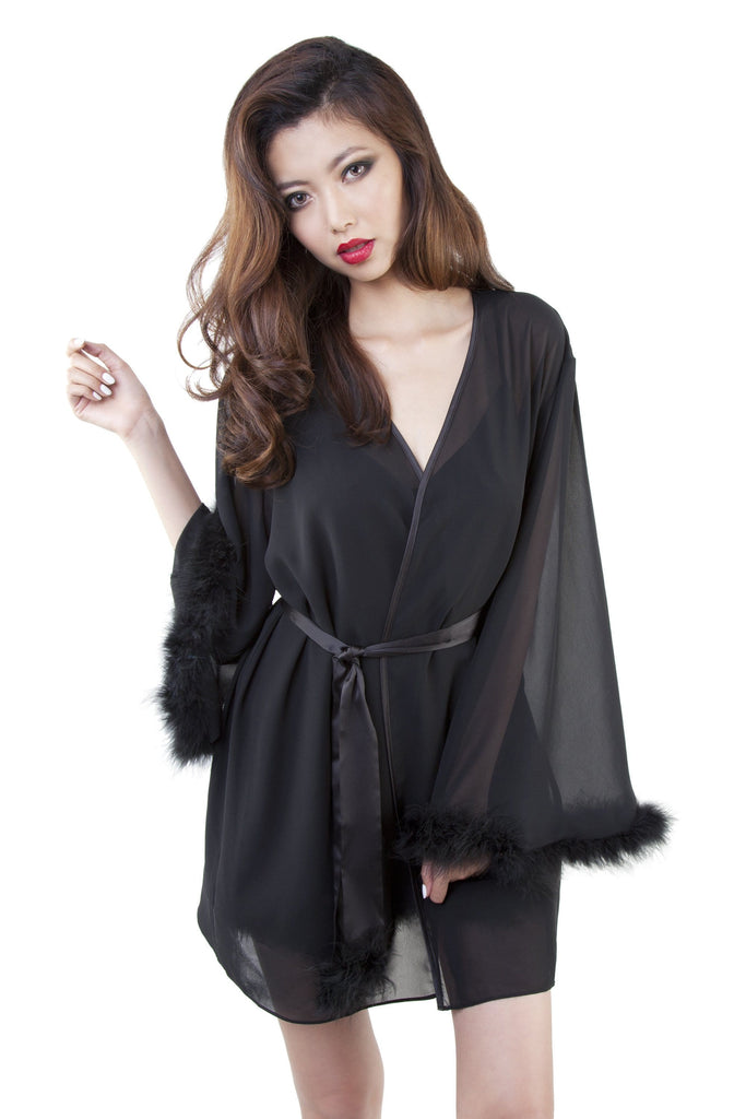 Bettie Page Black Faux Feather Robe