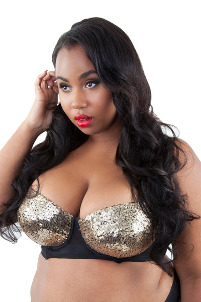 Peek & Beau - Tallulah Ruched Gold Sequin Bra Curve