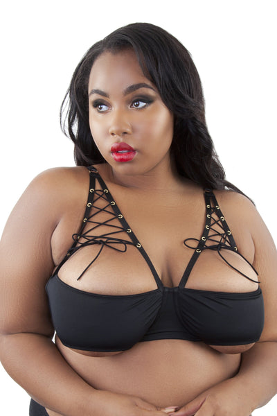 Peek & Beau Callie Open Cup Lace Up Bra Curve
