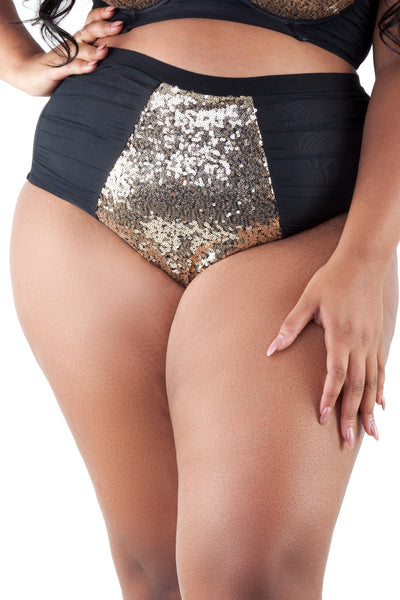 Peek & Beau - Tallulah Ruched Tulle Gold Sequin Brief Curve