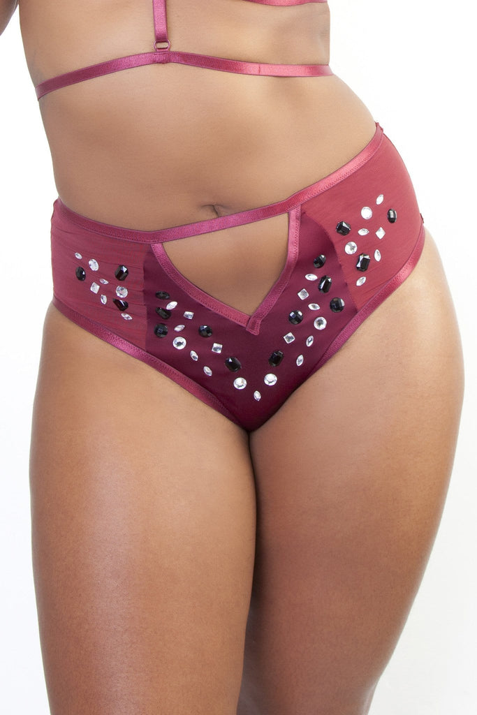 Peek & Beau - Betsy Wine Studded High Waist Brief