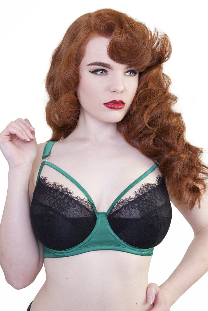 Tamara Forest Green Black Lace Bra DD+ Cups