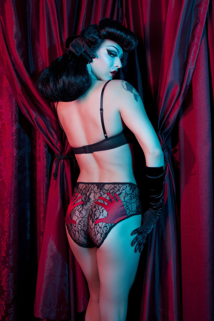 Bettie Page Red Hand Print Lace Bra