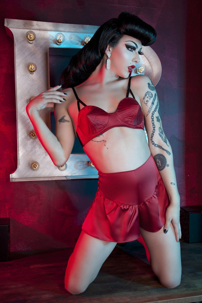 Bettie Page Dark Red French Knicker