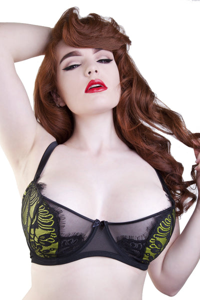 Sandrine	Lemonade/Black Push Up Net Bra DD+ Cups