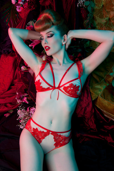 Peek & Beau Audrey Red Crochet Lace Bra