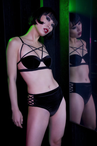 Peek & Beau Riley Black Velvet Bra