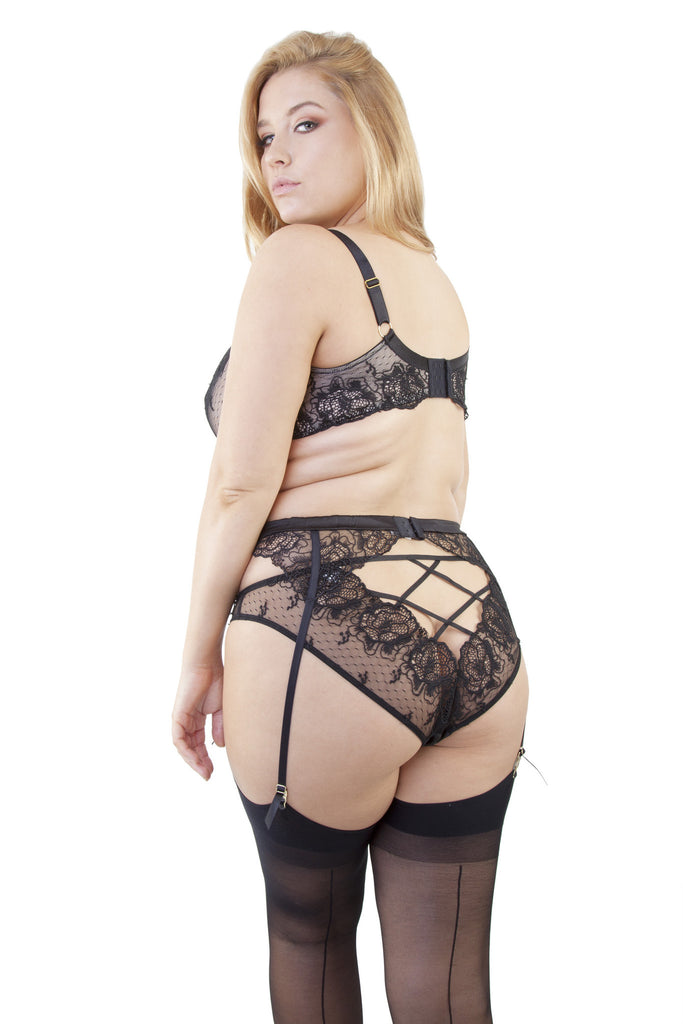 Elsa Black Lace Suspender Belt Curve