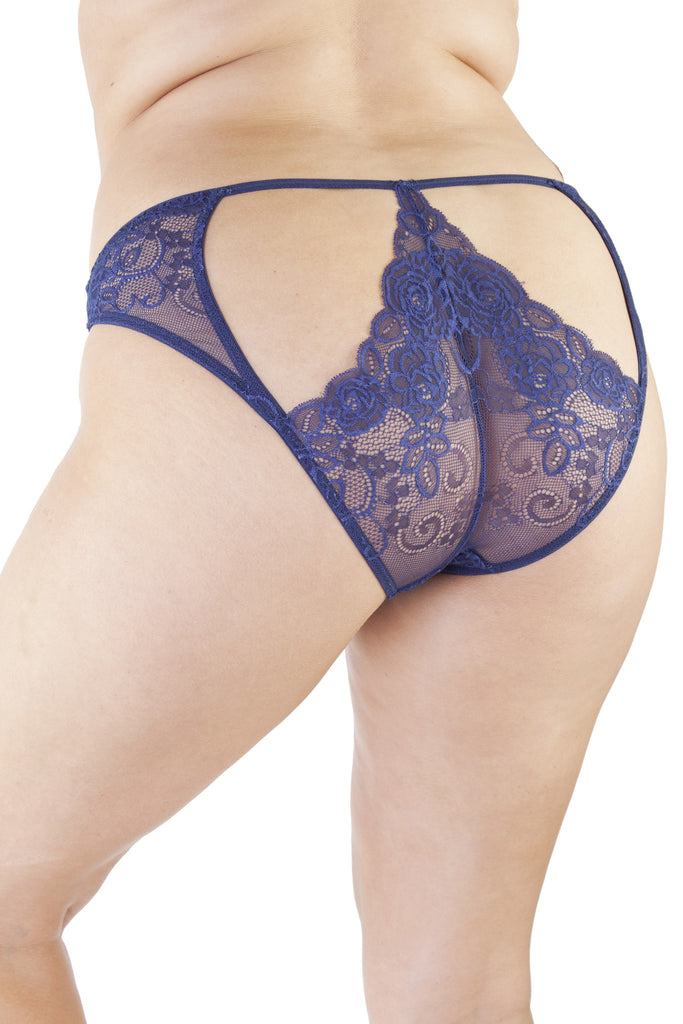 Sadie Midnight Blue Lace Curve Brief