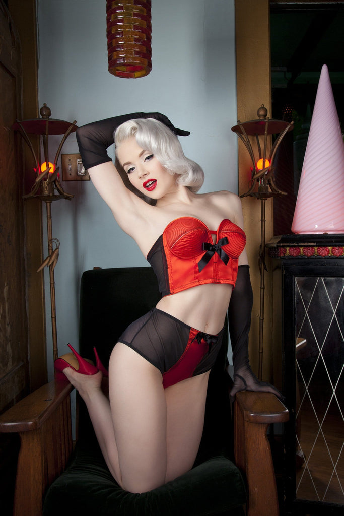 Bettie Page Longline Red/Black Overwire Bra A - DD/E