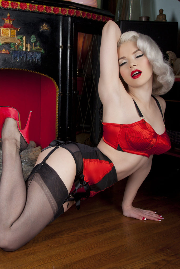 Bettie Page Red/Black Spiral Stitch Bullet Bra A - DD/E