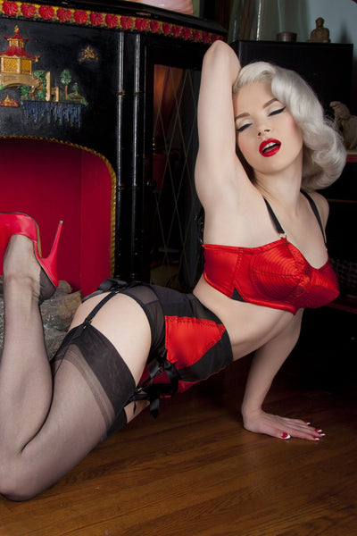 Bettie Page Red/Black Spiral Stitch Bullet Bra