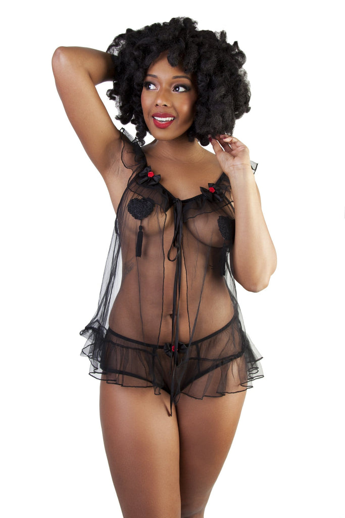 Bettie Page Black Tulle Babydoll & High Waist Brief