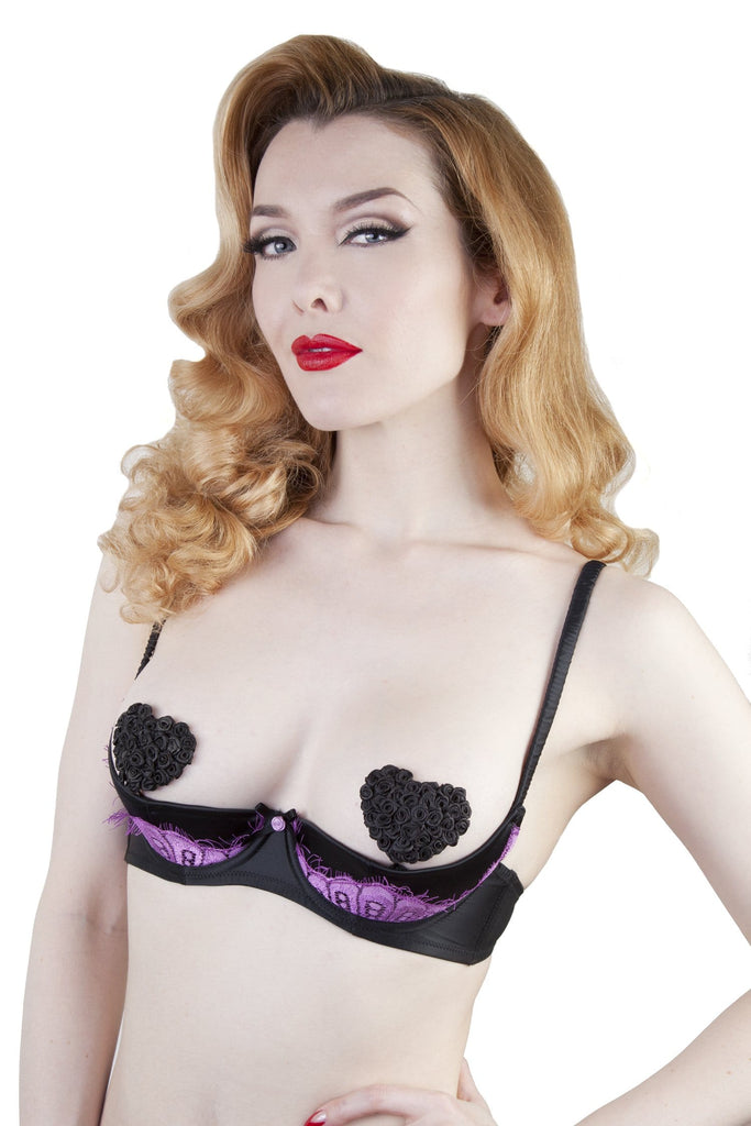 Marlene Lilac 1/4 Cup Bra With Lace A-D Cups