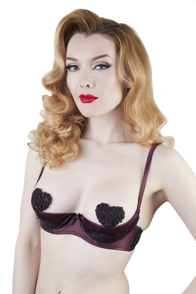 Marlene Wine 1/4 Cup Bra with Lace A-D Cups