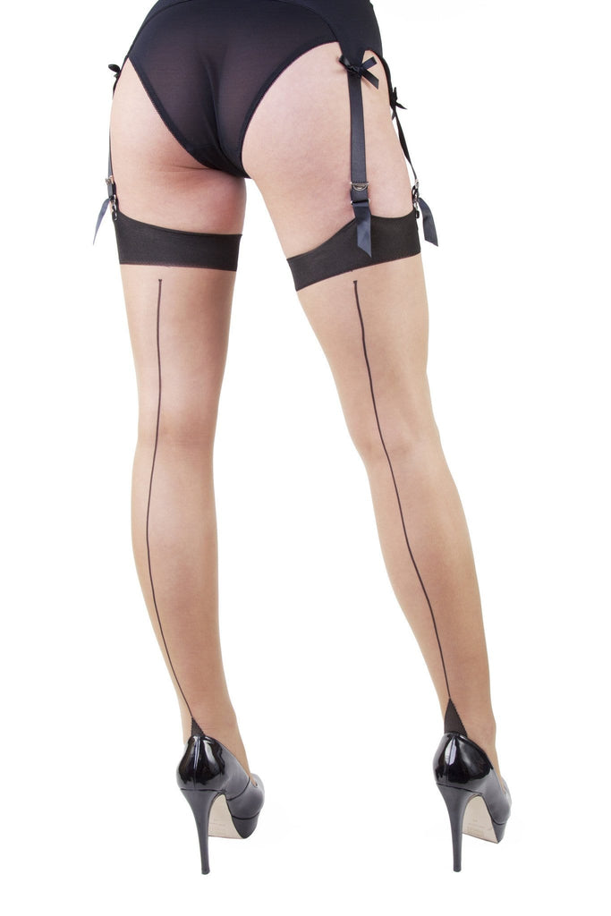 Playful Promises Sheer Seamed Stockings - Champagne & Black