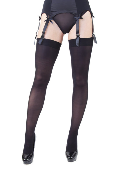 Playful Promises Opaque Seamed Stockings - Red & Black
