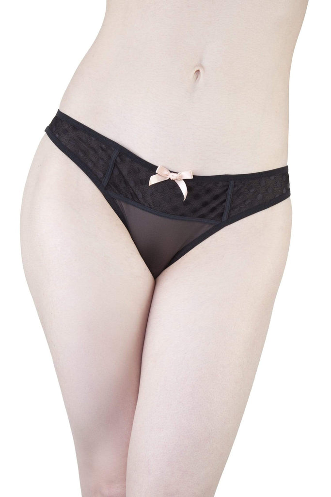 Isa Black Dot Mesh Net Brief