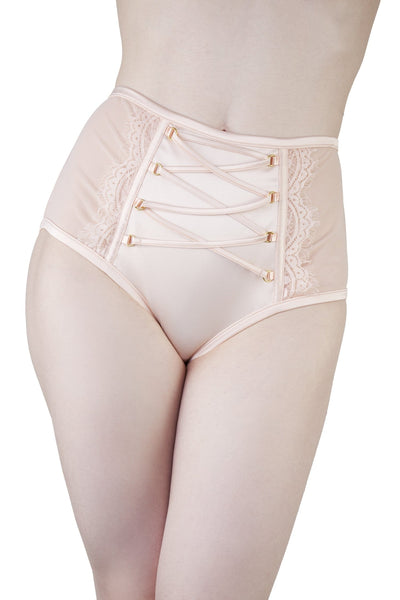Bernadette Peach Corset Front High Waist Brief