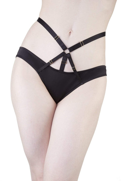 Adira Satin & Mesh Strappy Harness Brief