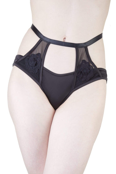 Effie Black Satin and Mesh Applique Brief
