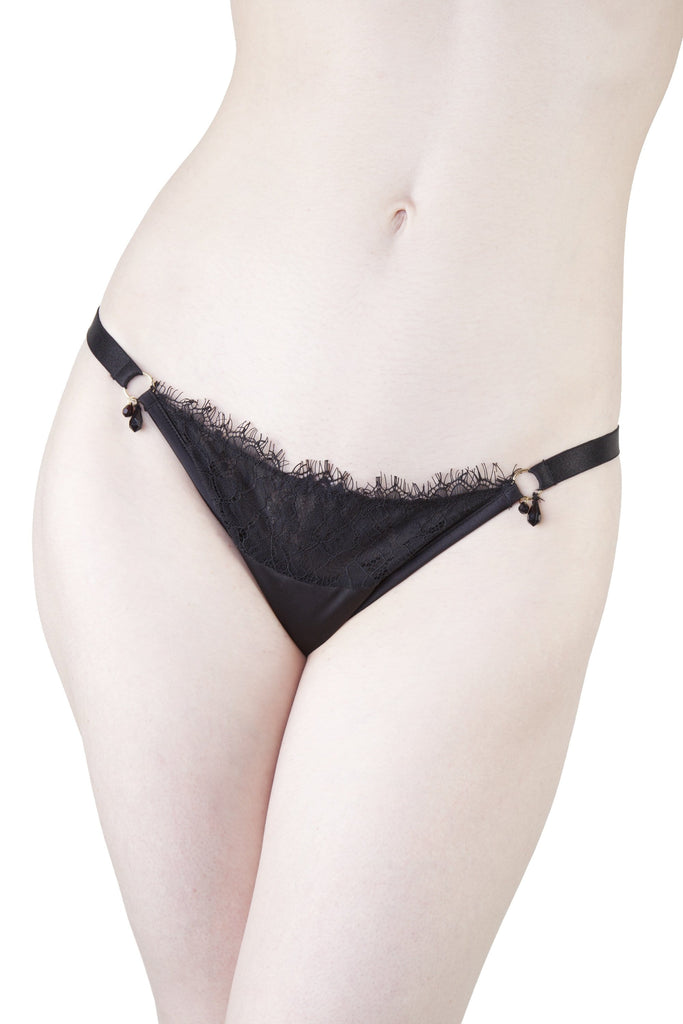 Mae Black Satin and Lace Brief