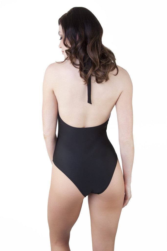 Peek & Beau Black and Bronze Stud One Piece Swimsuit