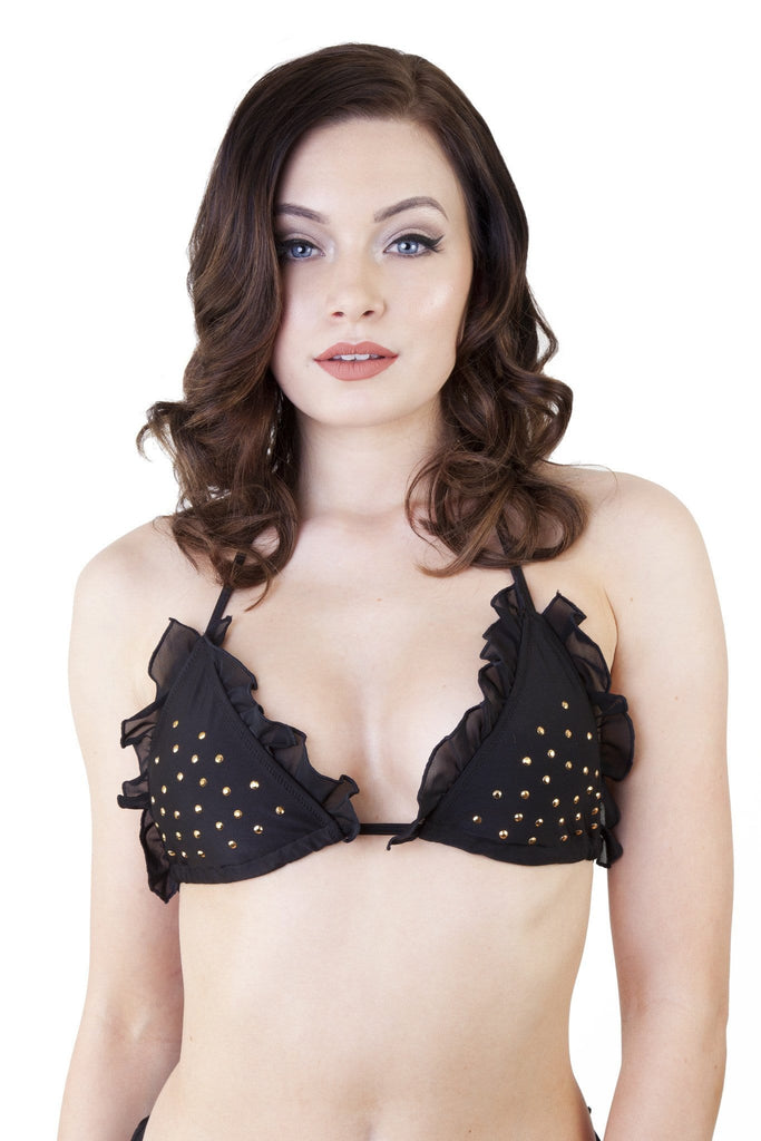 Peek & Beau Black and Bronze Stud Bikini Top