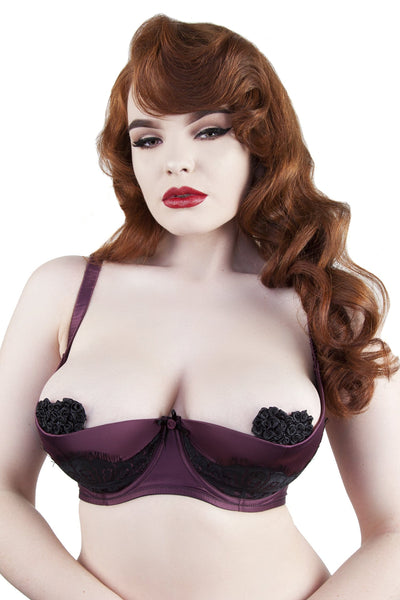 Marlene Wine 1/4 Cup Bra with Lace DD-G