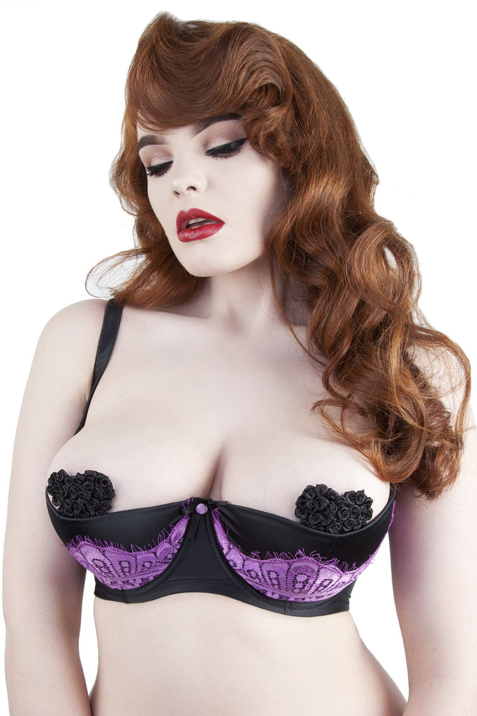 Marlene Lilac 1/4 Cup Bra with Lace DD+ Cups
