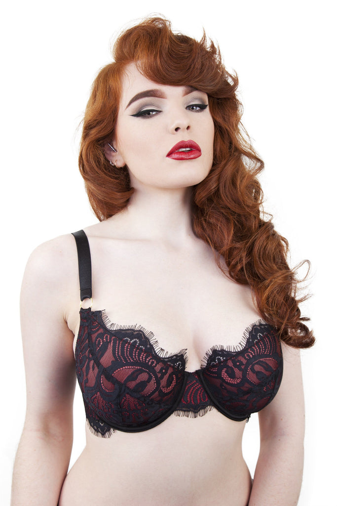 Bailey Red Net/Black Embroidery Lace Bra DD+ Cups