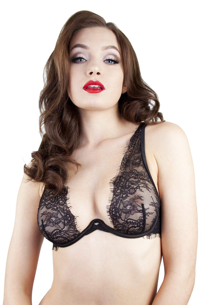 Peek & Beau Zoe Black High Apex Lace Bra