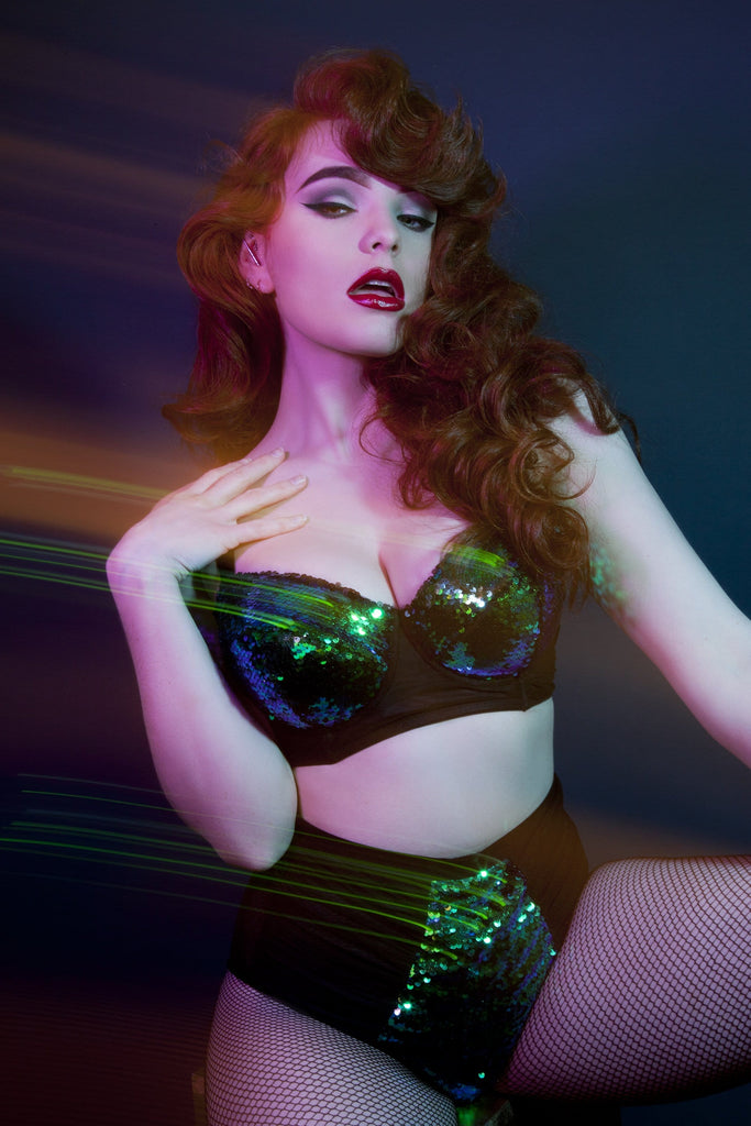 Peek & Beau - Tallulah Ruched Green Sequin Bra DD+ Cups