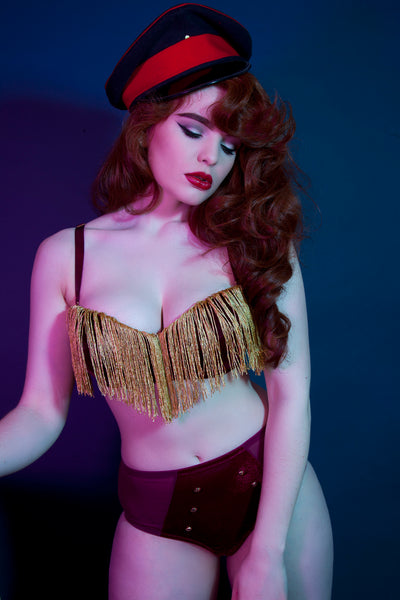 Peek & Beau - Major Velvet Tassle Bra DD+ Cups