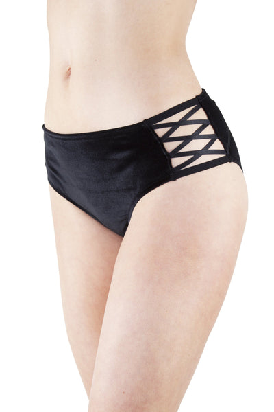 Peek & Beau Riley Black Velvet High Waist Brief