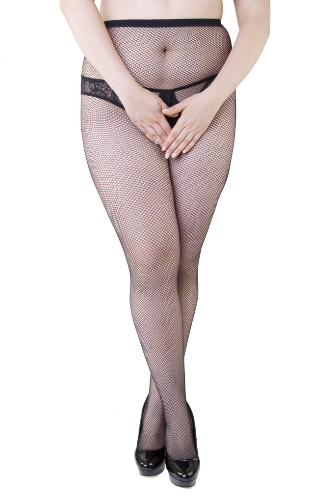 Miss Naughty Fishnet Crotchless Tights