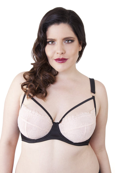 Tamara Black/Peach Lace Curve Bra