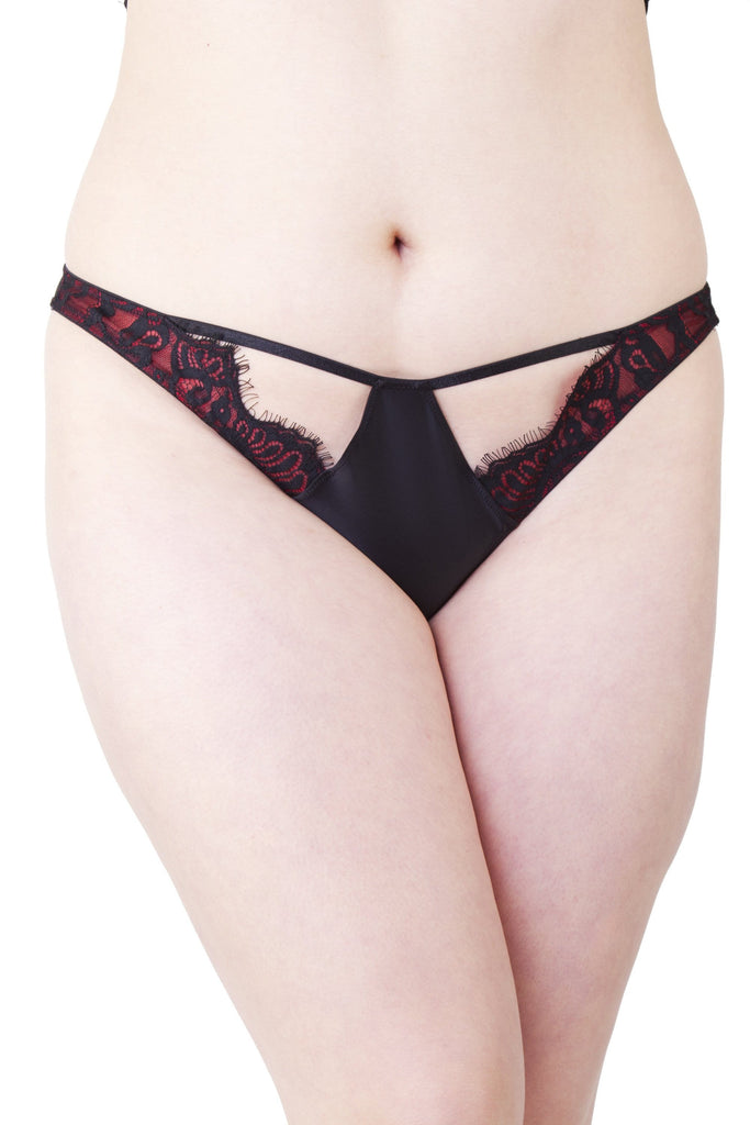 Bailey Red Net/Black Embroidery Lace Brief Curve