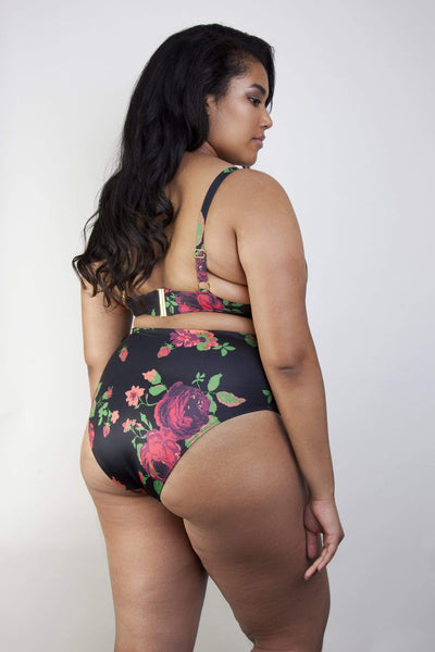 Wolf & Whistle Floral high waist bikini brief curve