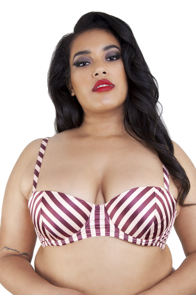 Beatrix Red Placement Stripe Demi Bra Curve